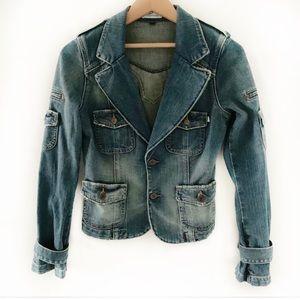 Blujeanious Distressed Stone Wash Jean Jacket Sz S
